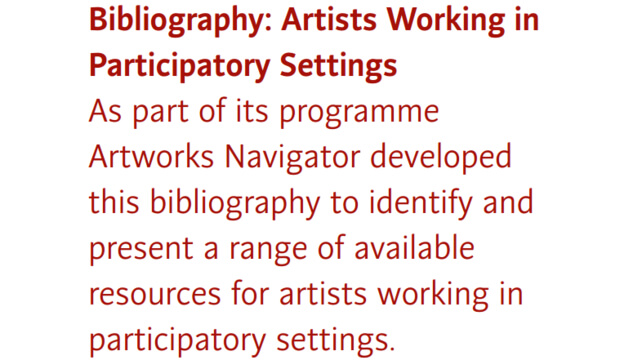 Bibliography: Artists Working in Participatory Settings