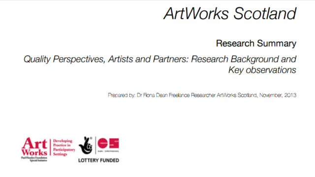 ArtWorks Scotland Quality Perspectives, Artists and Partners: Research Background and Key Observations